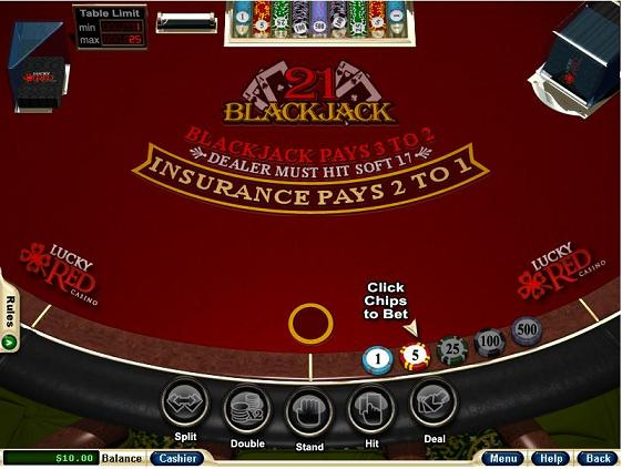 Lucky Red Blackjack Table