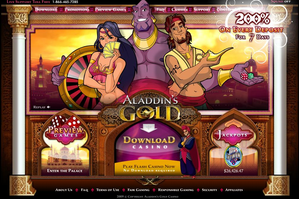 25 Free Spins at Aladdins Gold Casino
