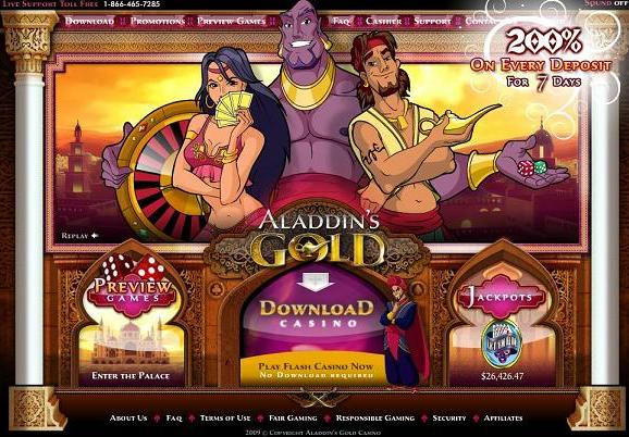 aladdins gold casino review - usa accepted